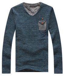 $18.53 V-Neck Applique Pocket Long Sleeves Polyester T-shirt