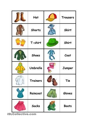 This is a funny way to practise the vocabulary.Print it and cut the oblong pieces, you can glue them on a cardboard to make them more resistant and your domino it´s ready to play! - ESL worksheets
