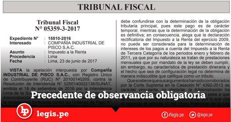 Precedente obligatorio sobre la aplicación de intereses moratorios por los pagos a cuenta del impuesto a la renta