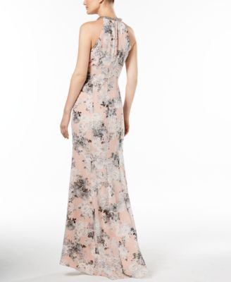646099ad97 Calvin Klein Printed Beaded Halter Gown