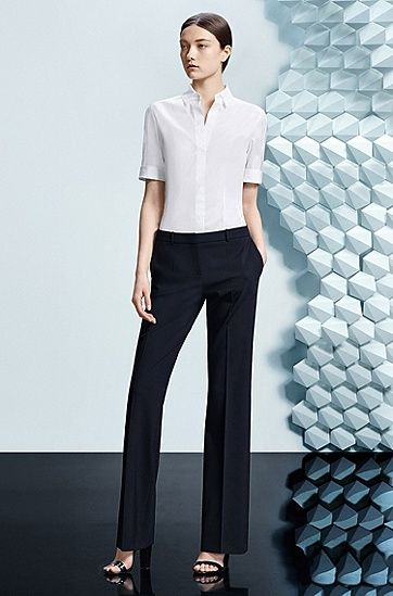 Boot-cut trousers in stretchy new-wool blend: 'Tulea'
