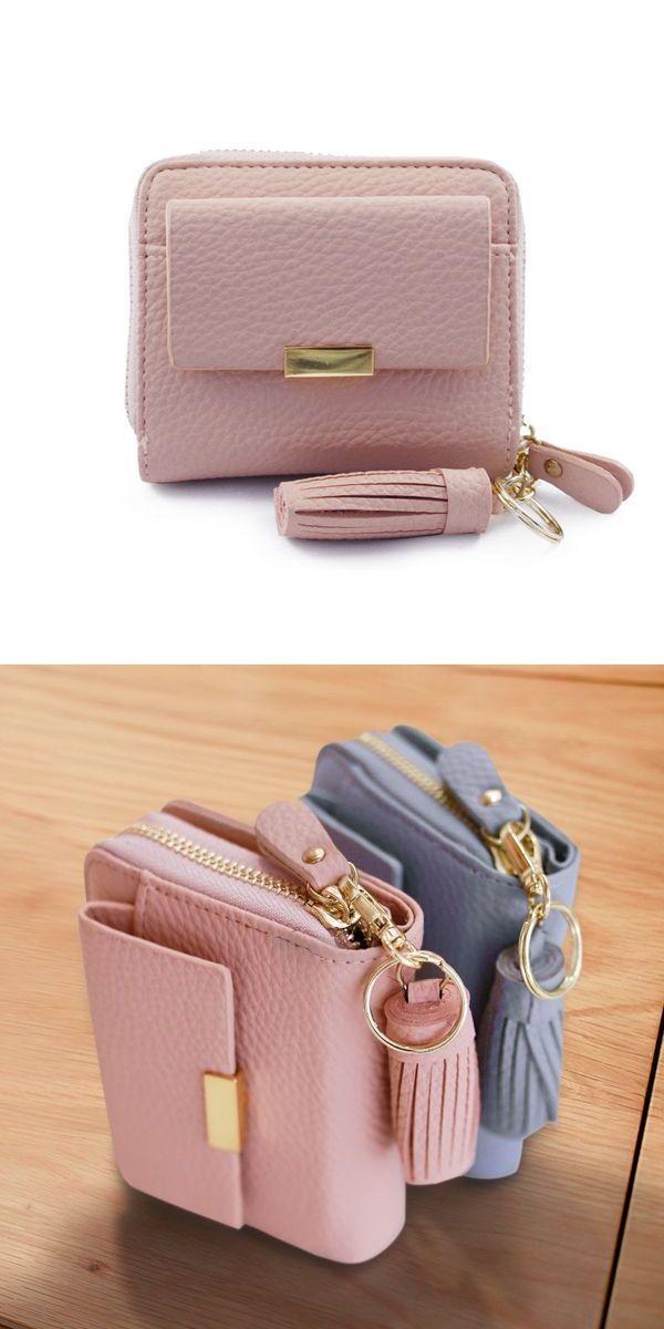 d52745e4f87 Women candy color tassel short wallets girls zipper purse card ...