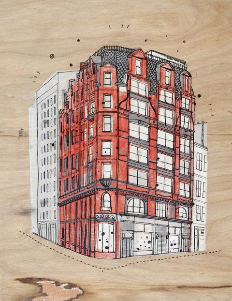 James Gulliver Hancock draws all the buildings in NYC @ParkCentralNY #NYC #hotel #NYCbuildings