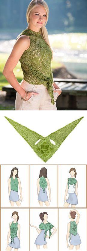 Faça você mesma, 1 peça, 5 formas de uso, um mais fofo que o outro: blusas, cachecol, xale, colete.