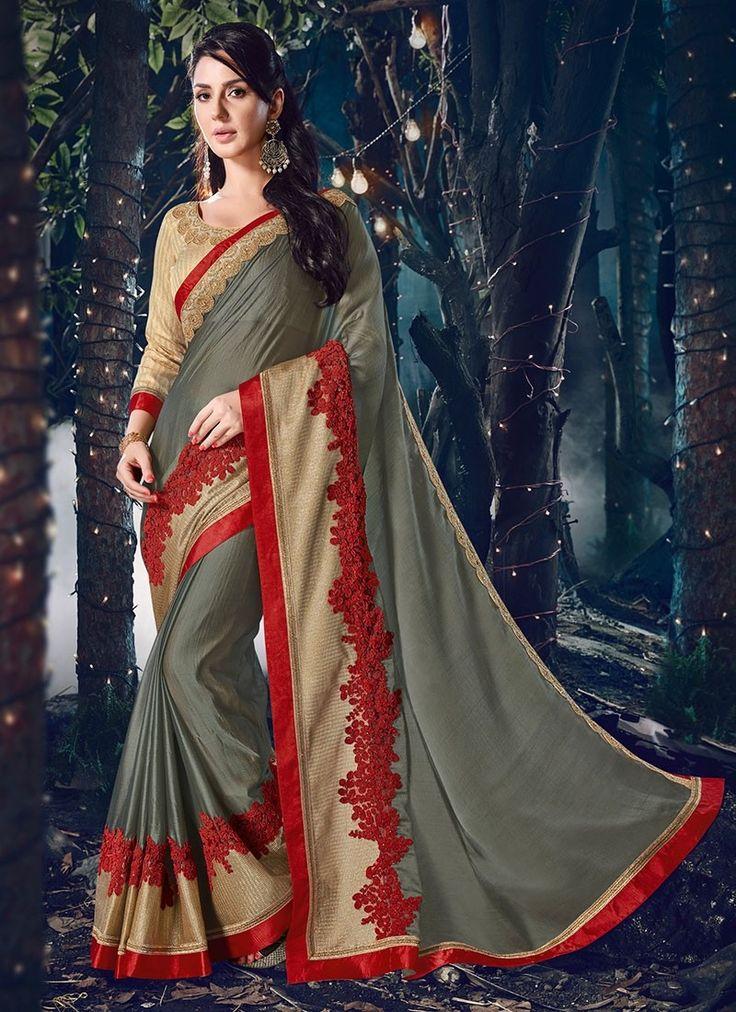 Shop Online Grey Chiffon #DesignerSarees @Chennaistore.com