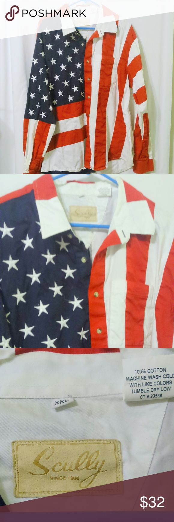 "SCULLY Men's American Flag USA Button Front Shirt This men's western style American Flag shirt is made by Scully and is a size XXL. The shirt is done in a 100% cotton. Measurements are: Chest 56"", sleeves 26"", length 32"". In great condition! Scully Shirts Casual Button Down Shirts"