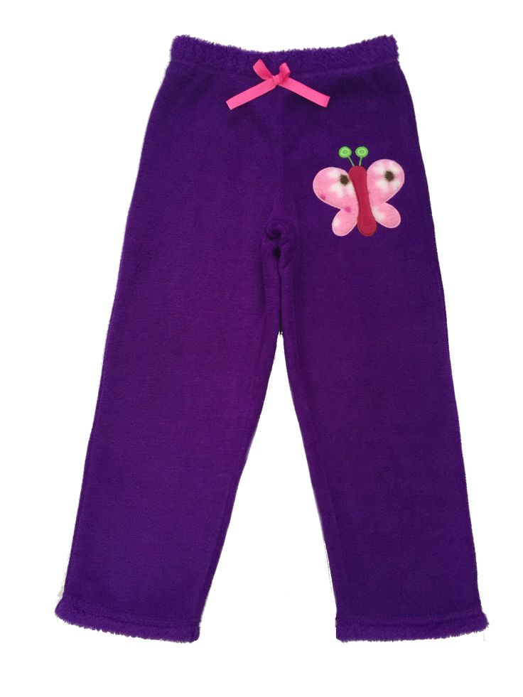 Girl's Colourful Butterfly Purple Fur Pants