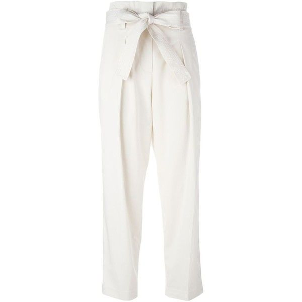 3.1 Phillip Lim Pleated Cropped Trousers ($415) ❤ liked on Polyvore featuring pants, capris, bottoms, white high waisted pants, cropped pants, white cotton pants, cotton pants and white straight leg pants