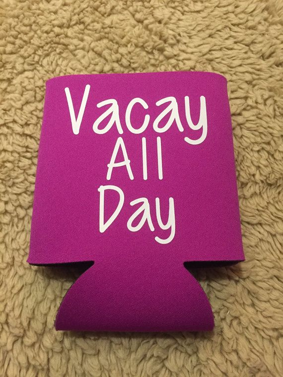 TheseVacay All Day Koozies are a great customized addition to any vacation, Spring Break trip, honeymoon or cruise. You are able to select your koozie color and vinyl font color. Here are the Koozie Color Options as photographed:   Black  Bright Blue  Bright Pink  Grey  Mint  Navy  White  Vinyl Font Color options are: Black  Glitter Gold  Gold  White  There is no up charge for Glitter Gold vinyl  Design options are as pictured.  ***After choosing your bundle pack option and Vacation koozie…