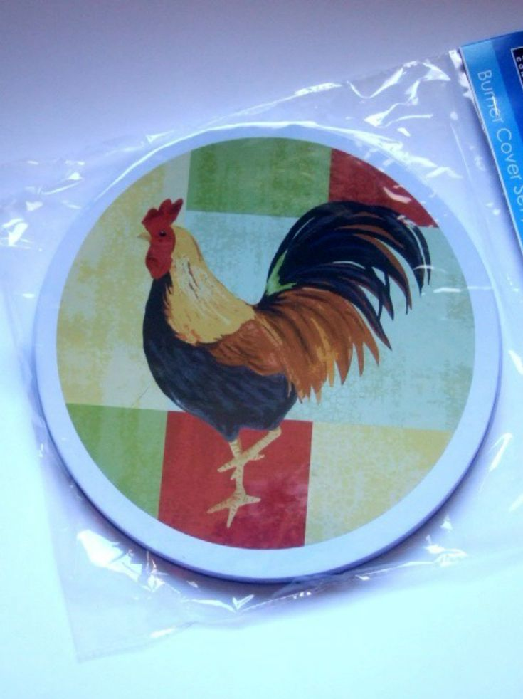 This Set Of 4 Metal Stove Burner Covers Are The Perfect Accent To Your Rooster  Themed Kitchen. They Are Done In White And Feature A Country Rooster S