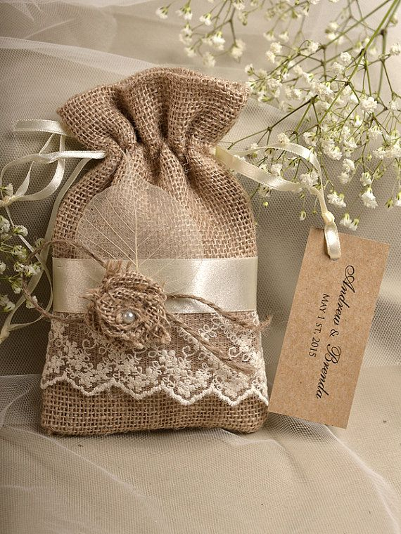 Natural Rustic Burlap Wedding Favor Bag , Natural Birch Bark Wedding Favor, County Style Bag, Custom Tag