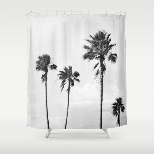 Add a subtle tropical landscape to your beach surf bathroom interiors with this hanging tub shower curtain, featuring a coastal gray landscape of
