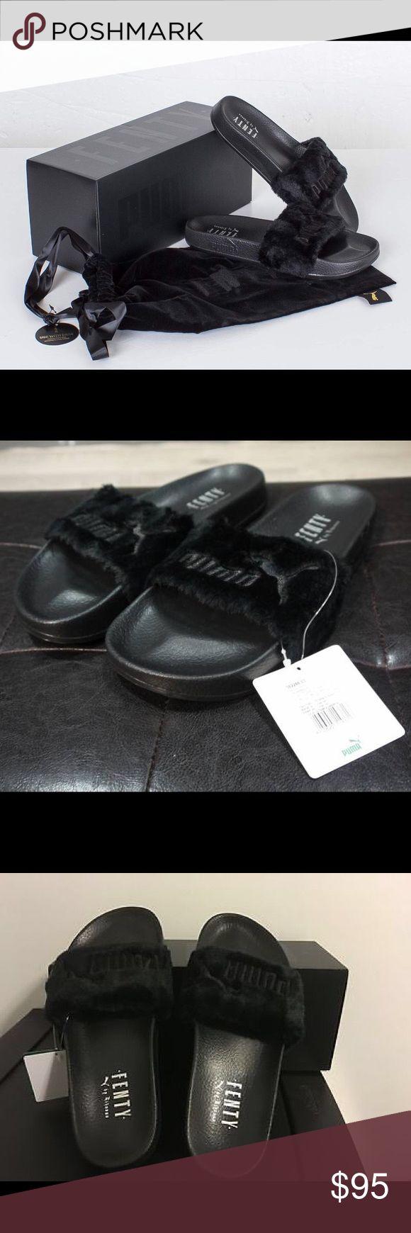 Rihanna Puma fenty slides Black (sz. 6.5) 100% original new in box with velour dustbag. Rihanna puma fenty slides in US size 6.5 Puma Shoes Sandals