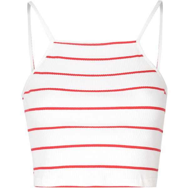 Red And White Stripe Halter Crop Top (£11) ❤ liked on Polyvore featuring tops, crop tops, shirts, crop, tank tops, white, white shirt, stripe shirt, white striped shirt and halter tops