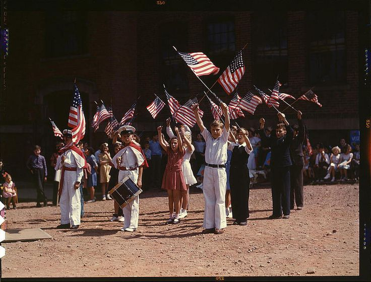 *Children stage a patriotic demonstration. Southington, Connecticut, May 1942. Reproduction from color slide. Photo by Fenno Jacobs. Prints and Photographs Division, Library of Congress