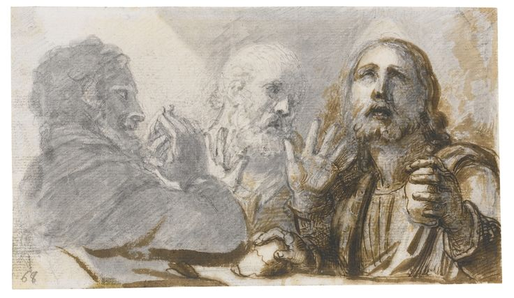 Richard Cosway, R.A. OAKFORD, DEVON 1742 - 1821 LONDON SUPPER AT EMMAUS Pen and brown ink with brown and grey wash over pencil, on laid paper;  inscribed, in pencil, lower left: 68 110 by 190 mm: