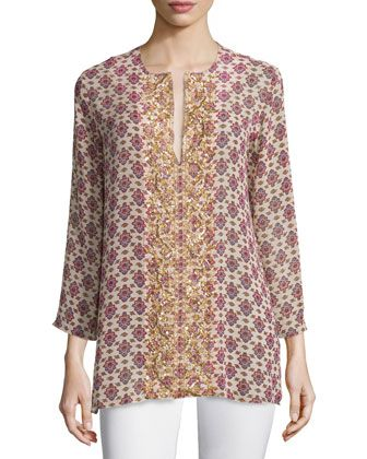 Lisbette+Medallion-Print+Silk+Tunic,+Thalie+Floral+by+Figue+at+Bergdorf+Goodman.