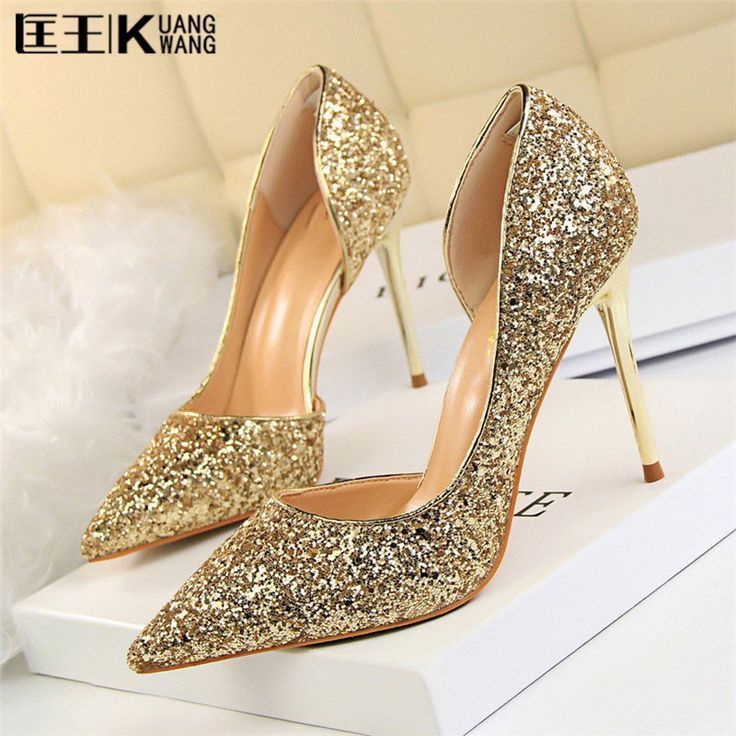 2017 Women High Heels Prom Wedding Shoes Lady Sexy High Heels Silver Glitter Rhinestone Bridal Shoes Thin Heel Party Pump  #Affiliate