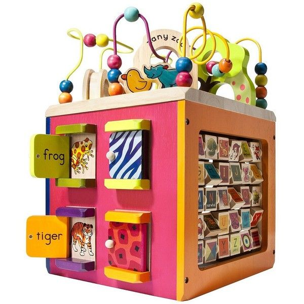 B. Zany Zoo Wooden Activity Cube ($60) ❤ liked on Polyvore featuring toys and baby