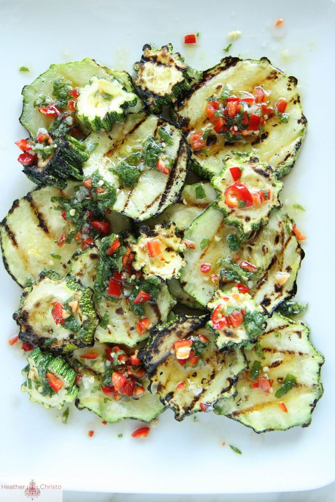 Grilled Zucchini with Chili and Mint by heatherchristo #Zucchini #Chili #Mint #Healthy