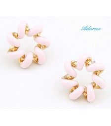 Delicate Pink & Gold Stud Earrings