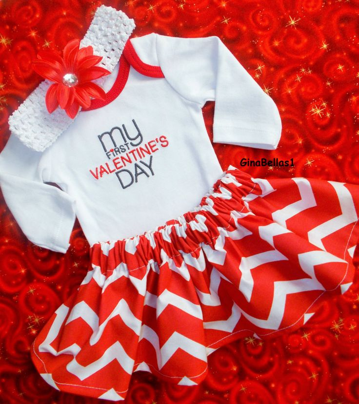 Baby Girl Valentines Day Outfit First Chevron Onesie Coming Home Dress  Skirt 1st Bow Kisses Daddys
