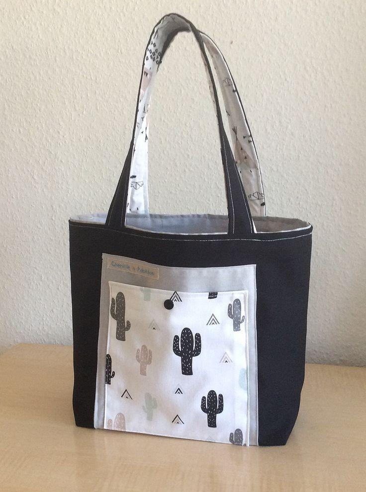 Sac femme élégant, sac façon cabas, sac tissus noir/gris : Autres sacs par chenille-et-papillon