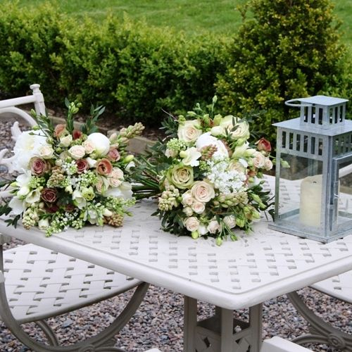 Antique Pink Creams and Whites Wedding Bouquets in Wicklow