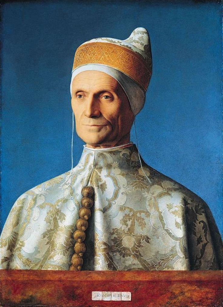London National Gallery Top 20 06 Giovanni Bellini - The Doge Leonardo Loredan Giovanni Bellini - The Doge Leonardo Loredan, 1501-4, 62 x 45cm. Leonardo Loredan was the Doge (head of state) of the Venetian Republic from 1501-21. He is shown here wearing his robes of state for this formal portrait, including the hat and ornate buttons. The expression on the right, lit side, of his face is more severe, while the left side, in shadow, is more benevolent. By graduating the blue of the…