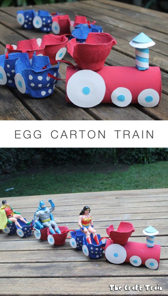 Egg Carton Train recycling craft for kids