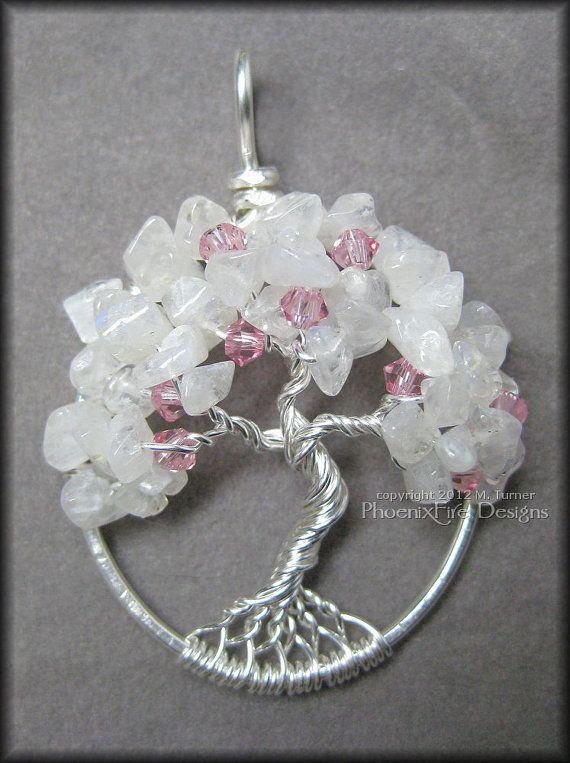 Cherry Blossom Tree of Life Pendant Rainbow by PhoenixFireDesigns, $50.00      #treeoflife #tree #treejewelry #jewerly #jewellry #treependant #gemtree #beadedtree #wirewrapped #silver #sterlingsilver #sterling #handmade #PFD #PhoenixFireDesigns #cherryblossom #cherry #blossom #plum #plumblossom #japan #japanese