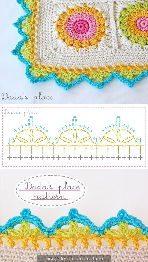 Beautiful crochet border, free chart by Dada´s Place.