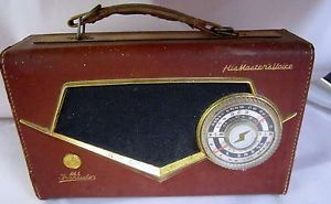 EXTREMELY-RARE-VINTAGE-HMV-J3-16-All-Transistor-Radio-with-Dark-Red-Leather-Case