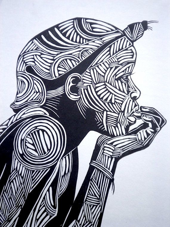 Reflection is a woodblock print of a west african girl deep in thought. BenPrints - Etsy