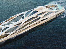 Die Superyachten, die Zaha Hadid für Blohm + Voss entworfen hat, sehen wie Raumschiffe aus einem Science-Fiction-Film aus.
