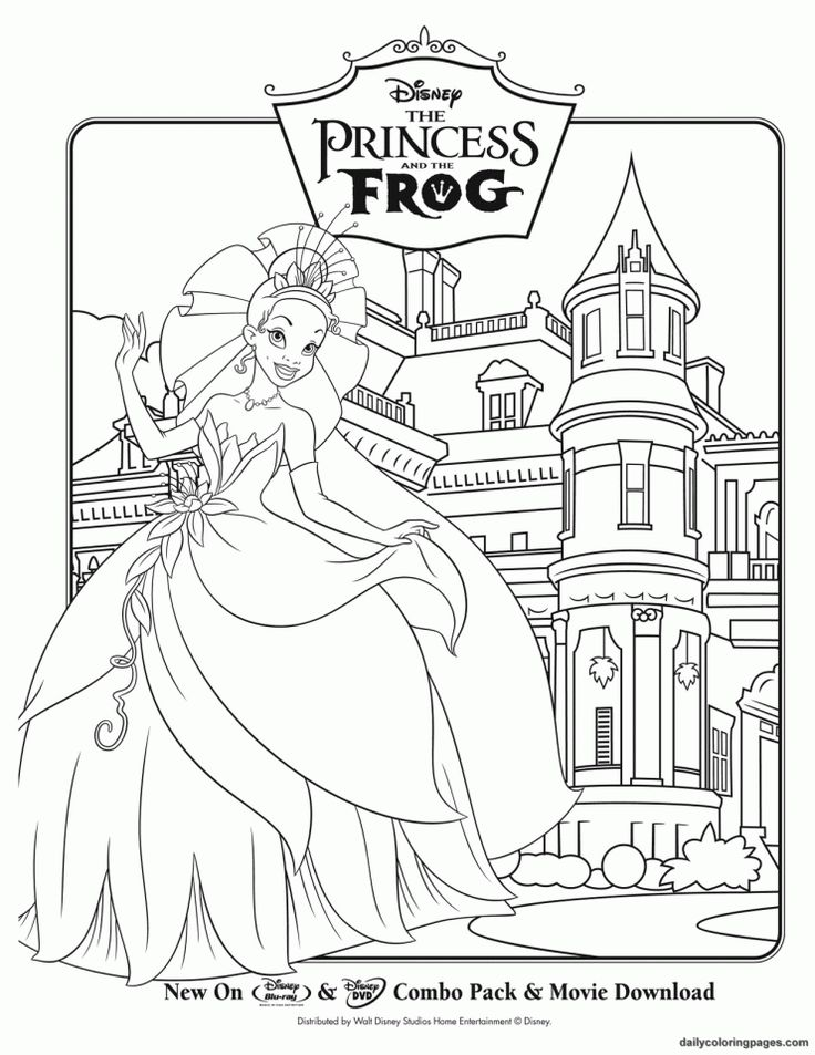 The Princess And Frog Disney Coloring Pages