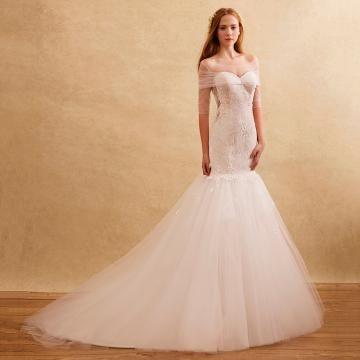 Délka dvorní Střih Klenot Elegantní & luxusní Svatební šaty 2016
