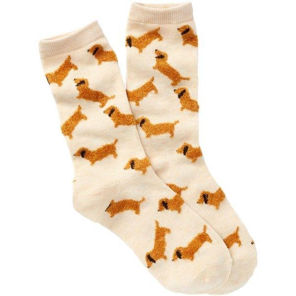 Free Press Fuzzy Yarn Animal Crew Socks ($4.97) ❤ liked on Polyvore featuring intimates, hosiery, socks, oatmeal fuzzy dachshund, animal print socks, crew cut socks, crew length socks, fuzzy socks and animal socks