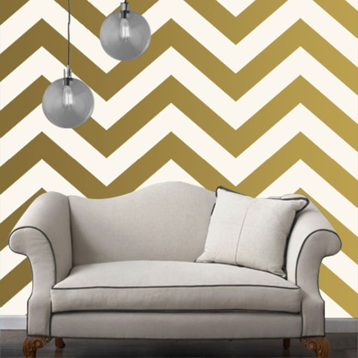 Temporary Wallpaper - Chevron - Metallic Gold - Removable Wallpaper - Wall