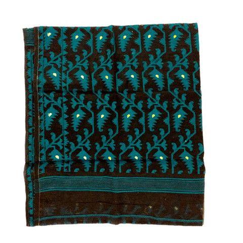 Black and Turquoise Jamdani