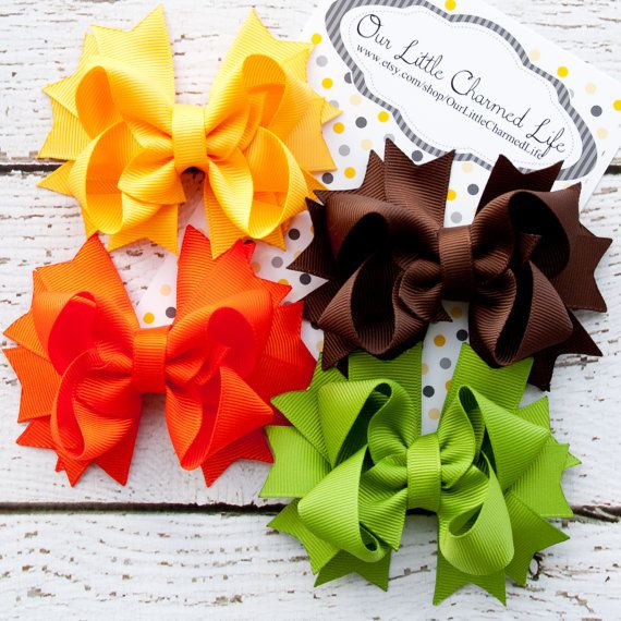 Hey, I found this really awesome Etsy listing at https://www.etsy.com/listing/171815954/set-of-4-fall-hair-bows-fall-hairbow