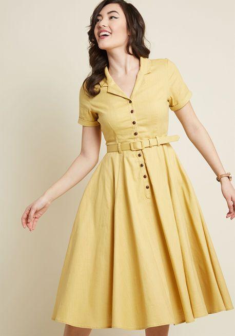 a61fe55751 Collectif x MC Cherished Era Shirt Dress in Yellow