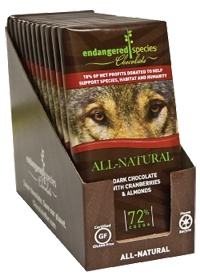 Dark Chocolate With Cranberries And Almonds by Endangered Species Chocolate. My favorite vegan candy