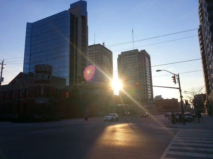 Taken on Waterloo St. & Dundas St. in #ldnont. Sunset between City Centre Towers (TD Towers). Also visible is the Delta London Armouries Hotel.