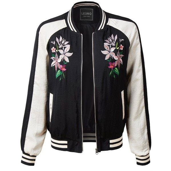 LE3NO Womens Ultra Lightweight Floral Embroidery Zip Up Bomber Jacket ($27) ❤ liked on Polyvore featuring outerwear, jackets, bleach jacket, pocket jacket, light weight jacket, zip up bomber jacket and zip up jackets