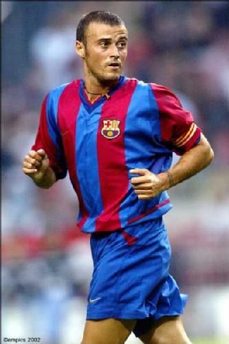 Luis Enrique--As a player his usual position was right or attacking midfielder, but he was notable for his versatility, having played in all positions throughout his career except central defender and goalkeeper.He was also noted for his temperament and stamina!!