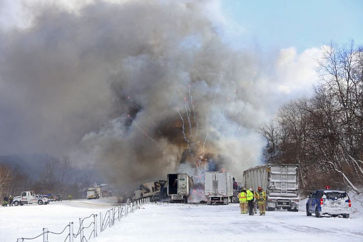 I-94 in Michigan remains closed Saturday morning as crews work to clear vehicles, acid from scene