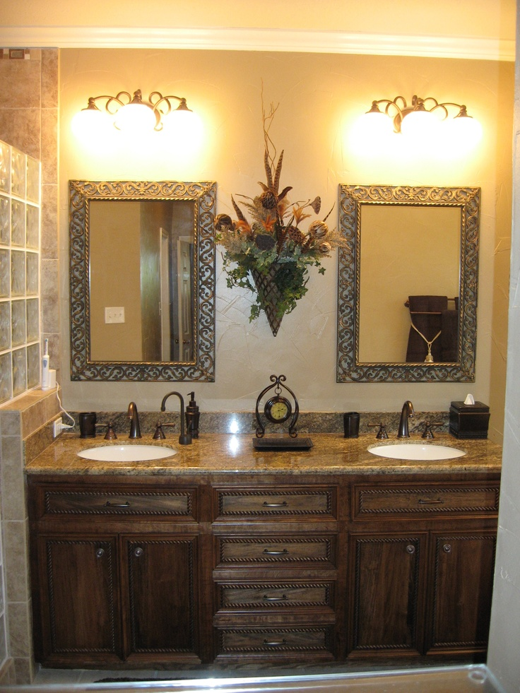 Counter Height Vanity : Custom built vanity, counter height, stained to match other furniture ...
