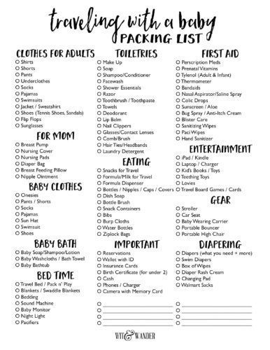 Packing List for Traveling with a Baby | Packing list for ...