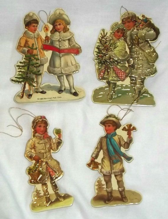 Set of Vintage Victorian Christmas Ornaments by WhisperingNightOwls on Etsy, $9.99